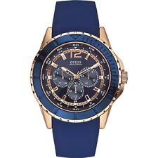 GUESS Men's 46mm Blue Silicone Stainless Steel Case Mineral Glass Watch W0485G1