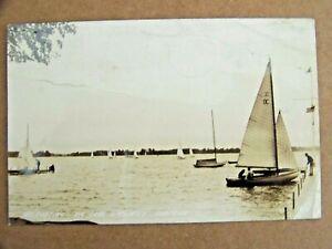 Lake Wawasee IN Indiana RPPC Photo Sailboating 1944 Sailboats Sailing