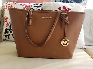 Michael Kors Jet Set Luggage Brown Saffiano leather tote handbag bag