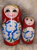 Vintage Russian Matryoshka Doll Babushka Nesting Blue Floral Design 2 Dolls