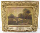 Antique Oil Painting Livestock Pasture Landscape Flock of Sheep or Lambs Grazing