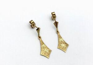 Vintage 9ct Rose Gold Bright Cut Flower Drop Post Earrings Birmingham 1978