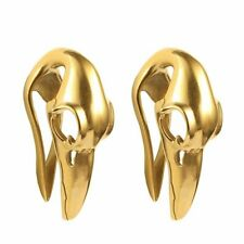 Plated 1/2-12mm - Sold as a Pair Ear Weights Bird Skull Design Ion Gold
