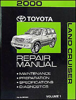 2000 Toyota Land Cruiser Repair Manual Volume 1 Shop Service Book Diagnosis