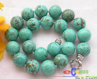 17inch 18mm round green turquoise bead necklace
