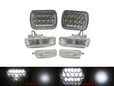 Full LED Hi+Low 7x6 Headlight + Clear Bumper + Marker For 89-90 Nissan 240SX S13