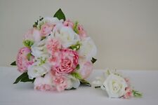 Wedding Bouquet For Bride Or Bridesmaids. Roses, Gypsophila And Cherry Blossom