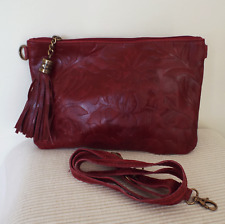 Red Leather Leaf Print Clutch Bag with Tassel and Detachable Shoulder Strap