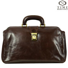 LEATHER DOCTOR BAG VINTAGE DARK BROWN UNISEX SATCHEL MEDICAL PURSE GENUINE NEW