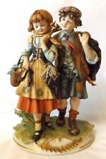 Stunning Capodimonte Vintage Girl and Boy Figurine, Orphans/Gypsy Children '70's
