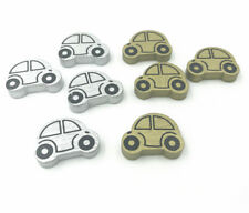 Wooden Car shape Loose Beads Gold/Silver beads Necklace Make Accessories 25mm