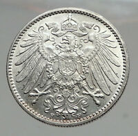 1914 WILHELM II of GERMANY 1 Mark Antique German Empire Silver Coin Eagle i64600
