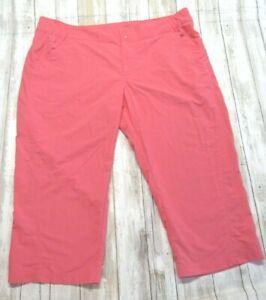 Columbia Sportwear Bright Coral Nylon PFG Performance Fishing Gear Capri Pants L