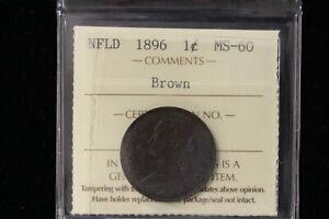 1896 Canada / Newfoundland. One Cent. ICCS Graded MS-60 (XNX802)