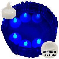 NEW 6 Blue Led Floating Floral Tea Light Candle for Wedding Centerpiece Decor