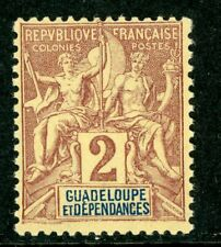 Guadeloupe 1892 French Colony 2¢ Scott #28 Mint H134