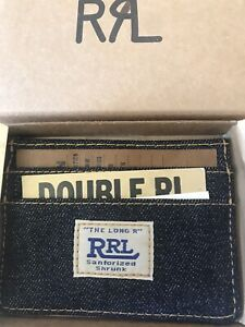 New Ralph Lauren RRL Dark Indigo Blue Selvedge Denim CARD CASE