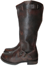 Frye Veronica Slouch Brown Leather Equestrian Biker Riding Boot 7.5-37.5 Bootie