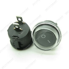 5 x Round Black 2 Pin SPST ON-OFF Rocker Boat Switch 12V Snap + Waterproof Coat