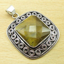 Pendant 1.7 Inch Antique Style 925 Silver Overlay Tiger'S Eye Handcrafted