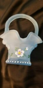 Fenton Miniature Blue Satin Handpainted Floral Basket