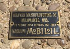 Vtg Mobiloil Brass Tag Mobil Oil Gas Vacuum Milwaukee Industrial Machine Rare