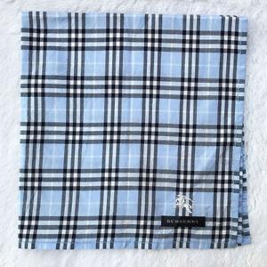 """Vintage Scarf Cotton Handkerchief Light Blue Novacheck Embroider Signature 19"""""""