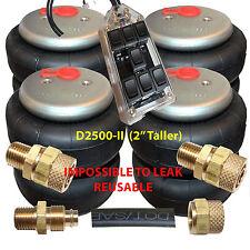"""Air Ride Suspension 4 DeNominator-II 2500lb Air Bags 1/2""""npt >3/8""""airline/contrl"""