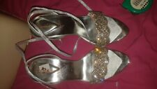 LADIES SANDAL HOUSE SPARKLY SILVER GLITTERY HEELED SHOES WEDDING / DANCE SIZE 3