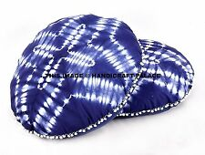 2 PC Indigo Blue Round Cushion Floor Pillow Cover Tie Dye Floor Pillows Large
