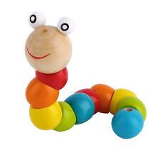Wooden Twisty Wiggly Worm Multicolour Sensory Wood Bead Developmental Toy Ft