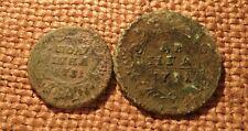 2 Old coins Polushka & DENGA 1731 Anna Ioanovna RARE #2