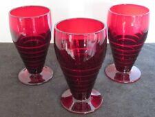 "3 PCS DEPRESSION CHERRY RED RUBY 3""D X 5""T WATER TUMBLERS GLASSES EUC"