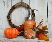 Orange Pumpkin Floral Fall Harvest Halloween Mason Jar Soap Disenser