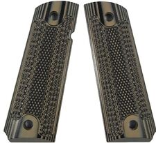 Custom 1911 Grips G10 Smith & Wesson Colt Classic Checkered  - Brown-Black