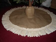"""Burlap Christmas Tree Skirt  with Boot Top! Country Primitive 40"""""""