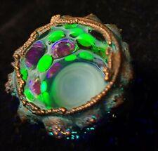 Handmade UV Reactive Inspector Marble Boro Electrormed Verdigris Borosilicate