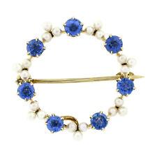 Antique Art Nouveau 14k Gold Round Montana Sapphire Pearl Cluster Wreath Brooch