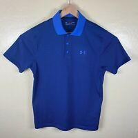 Under Armour Heat Gear Polo Shirt Mens Medium Blue Black Striped Performance