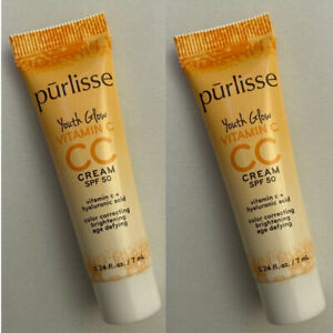 Lot of 2 PURLISSE Youth Glow Vitamin C CC Cream SPF50 in Medium 7ml ea Travel Sz