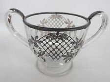 Sterling Silver Overlay Clear Glass Open Handled Vintage Sugar Bowl 079B