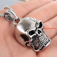 New Jewelry Silver Black Mens 316L Stainless Steel Skull Pendant Necklace Biker