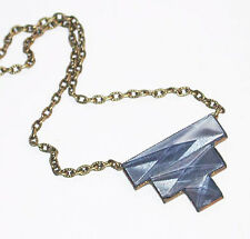 ~CLASSIC VTG 1920s ART DECO STEPPED CLEAR BLUE/GRAY BEVELED GLASS NECKLACE!~~