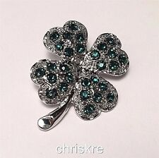 Silver Plated Crystal Shamrock Pin Brooch Green Irish Celtic Pride St. Patricks