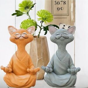 Buddha Cat Figurine Meditation Yoga Collectible Happy Cat Decor Ornaments 12.5cm