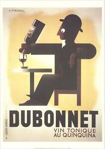 A.M. CASSANDRE Dubonnet 39.25 x 27.5 Poster 1998 Vintage Brown, Black, White Win