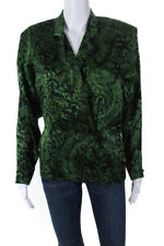 Genny Womens Silk Long Sleeve Floral Print V-Neck Blouse Green Black Size Small
