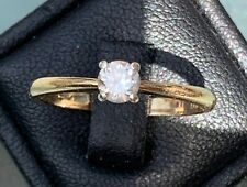 Sparkling 9ct Yellow Gold 0.25ct Solitaire Diamond Engagement Ring .. Size O