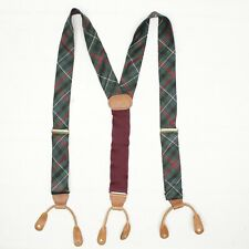 Ferrell Reed Mens Silk Braces Suspenders Green Red Tartan Plaid Leather Button