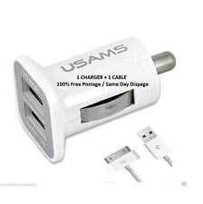 USAMS CAR CHARGER 3.1 AMP + GENUINE APPLE iPhone 4 4S 3G 3GS IPOD & iPad 2 & 1*